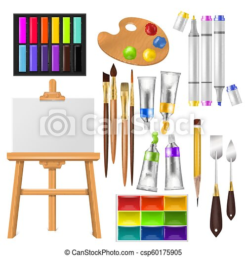 Artist tools vector watercolor with paintbrushes palette and color paints  for artwork in art studio illustration artistic painting set brushes or