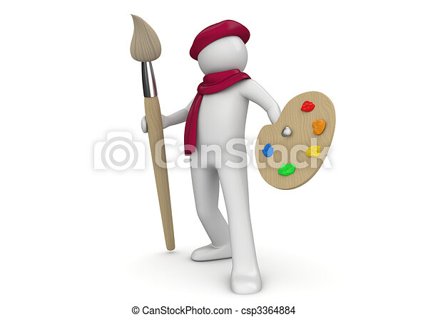 Artist with brush and palette - csp3364884