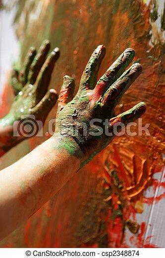 artista, pittura, bambini, colorito, mani - csp2348874