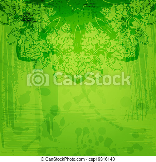 Artistic abstract vector background with floral arabesque - csp19316140