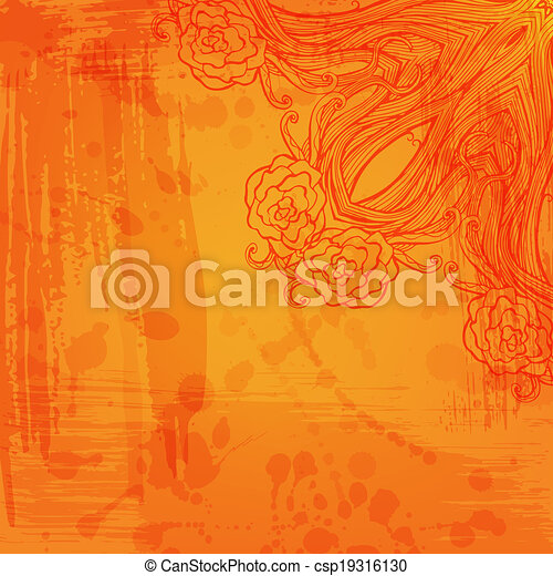 Artistic abstract vector background with floral arabesque - csp19316130