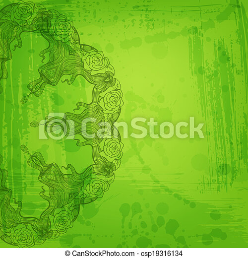 Artistic abstract vector background with floral arabesque - csp19316134