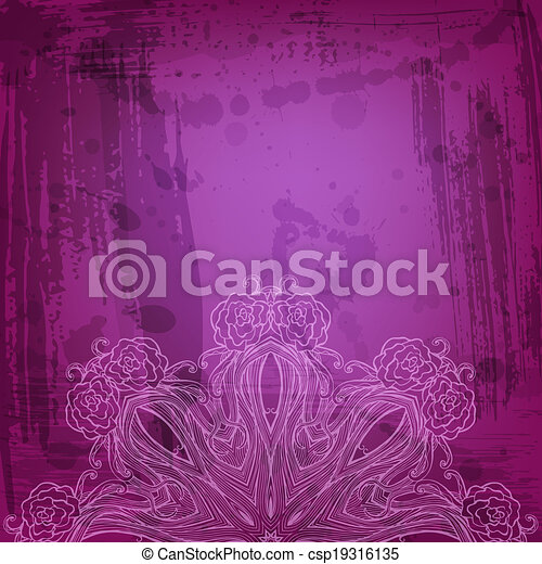 Artistic abstract vector background with floral arabesque - csp19316135