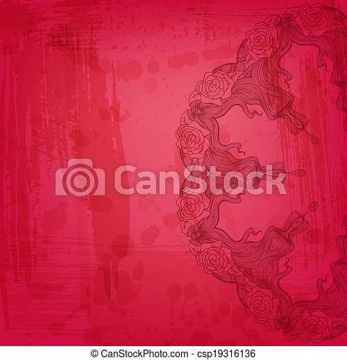 Artistic abstract vector background with floral arabesque - csp19316136