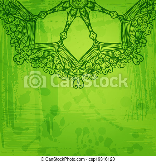 Artistic abstract vector background with floral arabesque - csp19316120