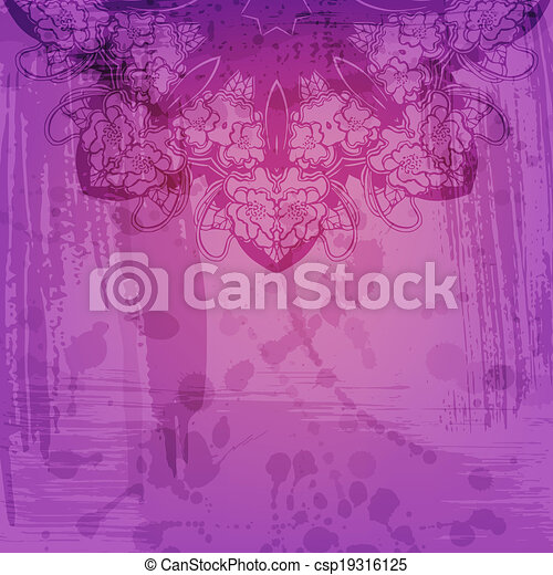 Artistic abstract vector background with floral arabesque - csp19316125