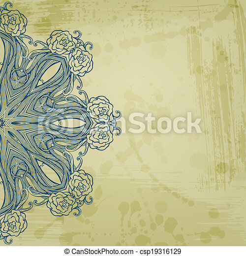 Artistic abstract vector background with floral arabesque - csp19316129