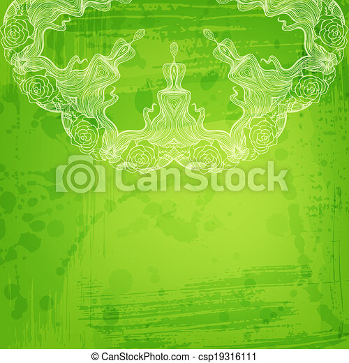 Artistic abstract vector background with floral arabesque - csp19316111