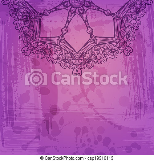 Artistic abstract vector background with floral arabesque - csp19316113