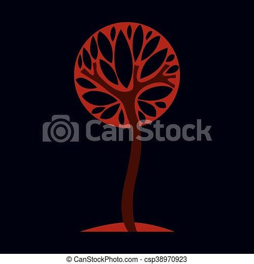 Artistic fantasy illustration of autumn tree, stylized ecology symbol. Graphic design vector image on season idea, nature theme. - csp38970923