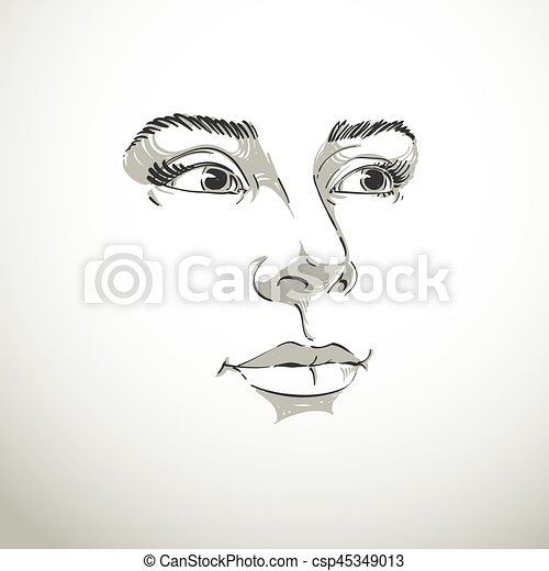 Illustration Visage artistic hand-drawn vector image, black and white portrait of