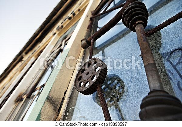Artistic Industrial Window Bars - csp13333597