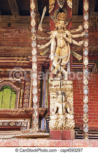 Artistic Roof Strut, Changu Narayan Temple, Nepal - csp4593297