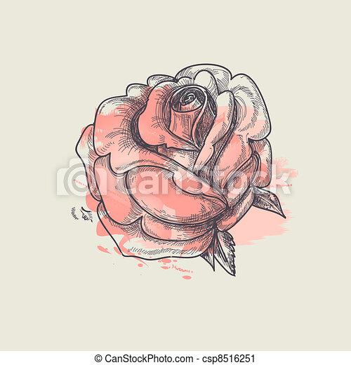 Artistic rose vector illustration - csp8516251
