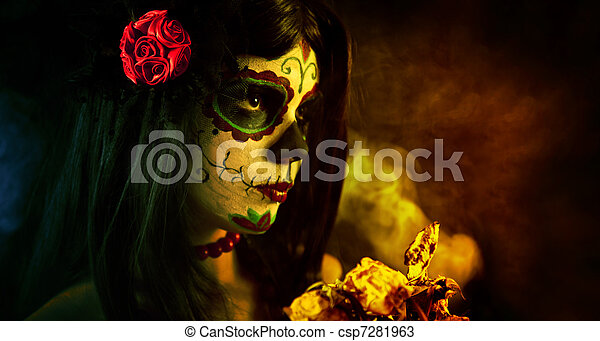 Artistic shot of sugar skull girl with dead roses  - csp7281963