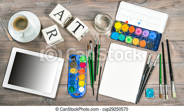 Artistic workplace mock up with painting tools and accessories - csp29250570