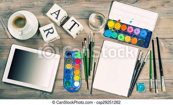 Artistic workplace mock up with painting tools and accessories - csp29251262