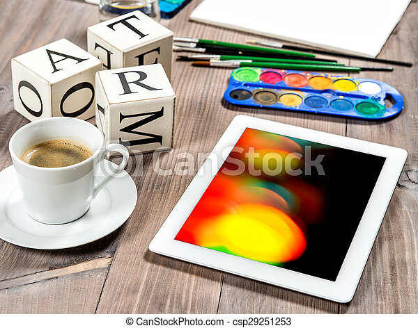 Artistic workplace mockup with black coffee. Watercolor, brushes, tablet PC - csp29251253
