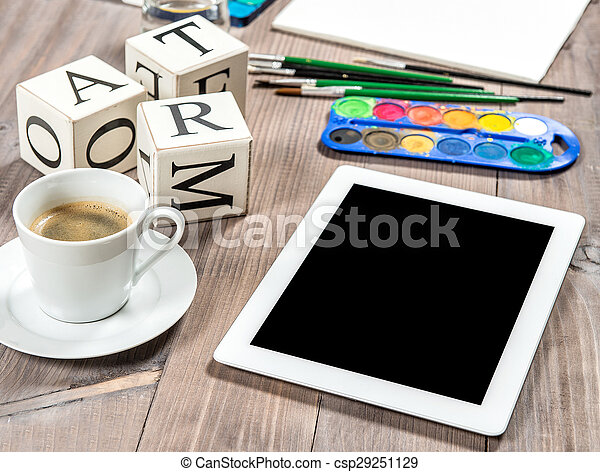 Artistic workplace mockup with black coffee. Painting tools and accessories - csp29251129