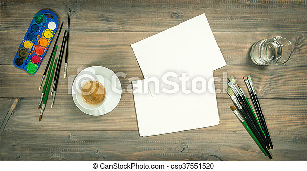 Artistic workplace. Watercolor brushes paper painting tools - csp37551520