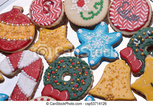 Artistically Decorated Christmas Cut Out Sugar Cookies