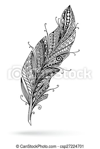 Artistically drawn, stylized, vector feather on a white background. - csp27224701
