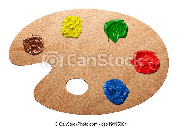 Artist's palette with multiple colors - csp19435004