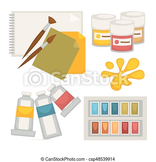 Artists supplies set in colors isolated on white vector poster - csp48539914
