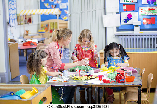 Arts and Crafts at Nursery - csp38358932