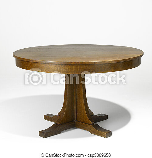 arts and crafts oak dining table - csp3009658
