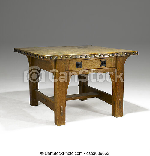arts and crafts oak library table - csp3009663