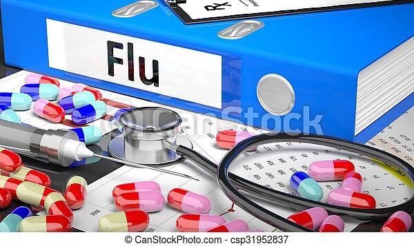 arts, blauwe , map, medicaments, supplies., tafel, medisch - csp31952837
