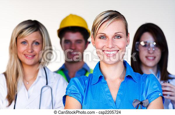 arts, -, businesswoman, wetenschapper, fototoestel, multi-profession, het glimlachen, ingenieur - csp2205724