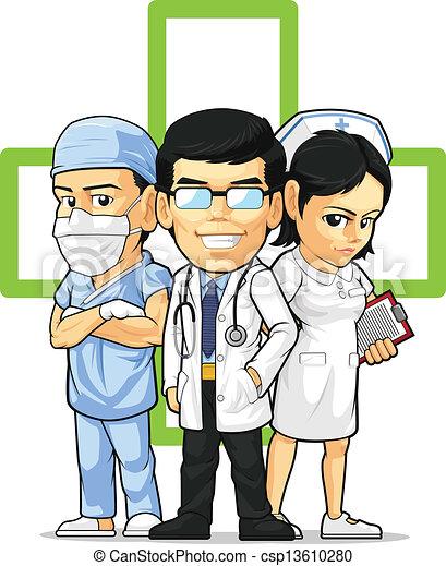 arts, chirurg, verpleegkundige, & - csp13610280