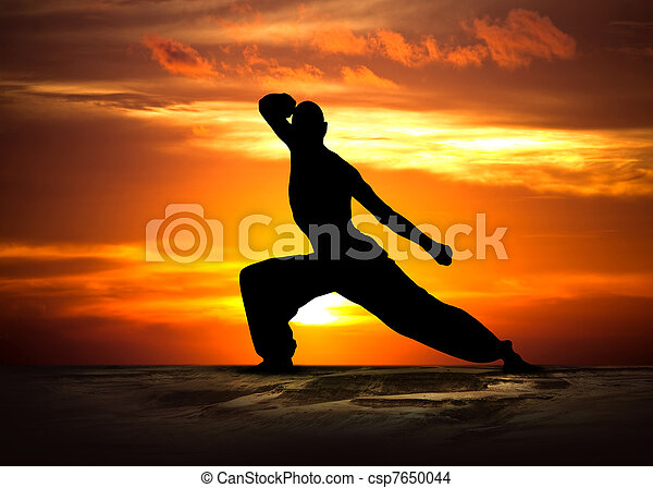 arts martiaux, coucher soleil, fitness - csp7650044