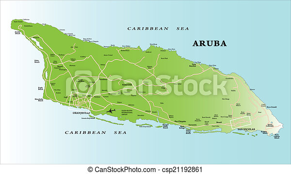 Aruba map Highly detailed vector map of aruba with clip art