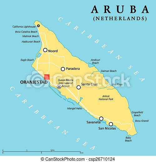 Aruba Politische Karte Mit Hauptstadt Oranjestad Und Wichtigen
