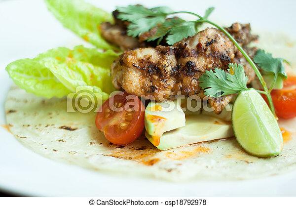 asado parrilla, placa, pollo, blanco, ensalada - csp18792978