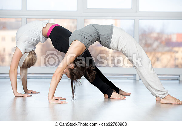 asana urdhva dhanurasana fitness practice group of two