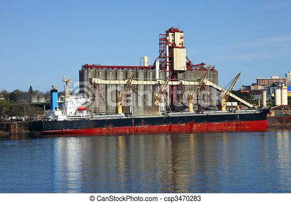 ascenseur grain, bateau, &, cargaison - csp3470283