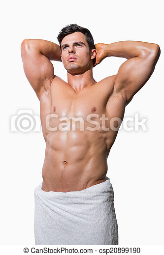 asciugamano, shirtless, muscolare, involvere, bianco, uomo - csp20899190
