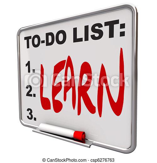 asciutto, fare elenco, -, cancellare, asse, imparare - csp6276763