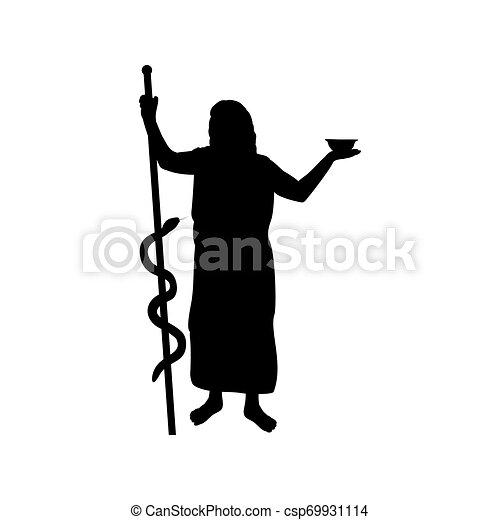 Asclepius god medicine silhouette ancient mythology fantasy - csp69931114