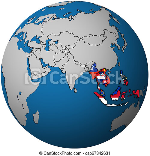 ASEAN on globe map with asia - csp67342631