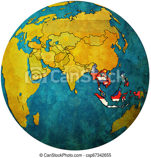 ASEAN on globe map with asia - csp67342655