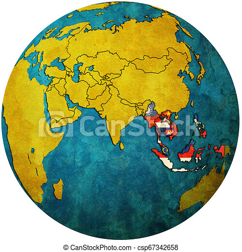 ASEAN on globe map with asia - csp67342658