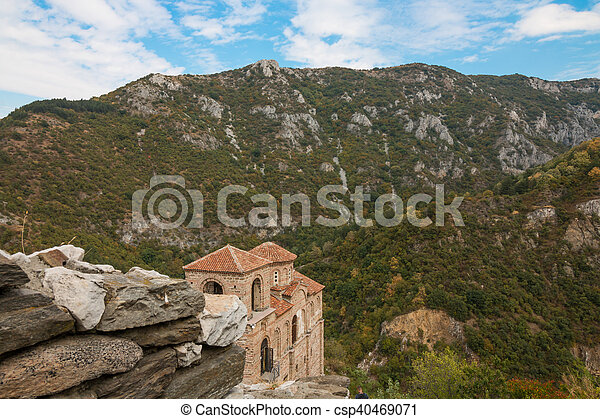 Asen's Fortress in the Rhodope Mountains, Bulgaria - csp40469071