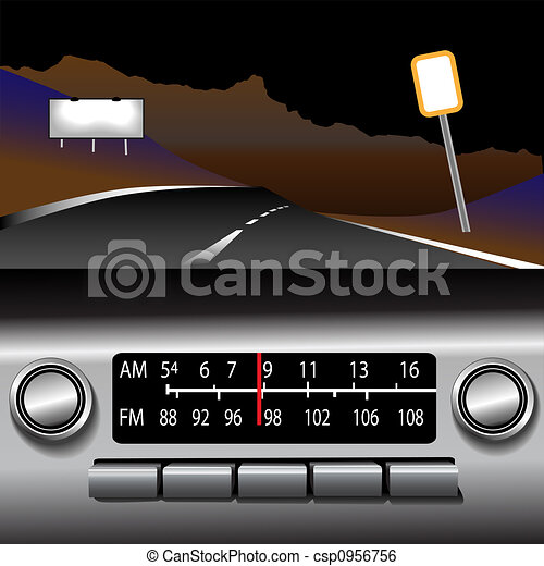 ashboard, 驅動, 收音机, 背景, fm, 高速公路 - csp0956756