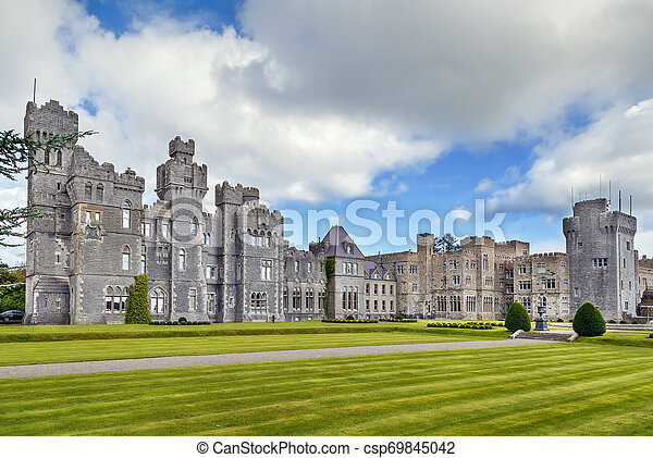 ASHFORD CASTLE MEDIEVAL GALWAY IRELAND IRISH LUXURY HOTEL TRAVEL  POSTER REPRO
