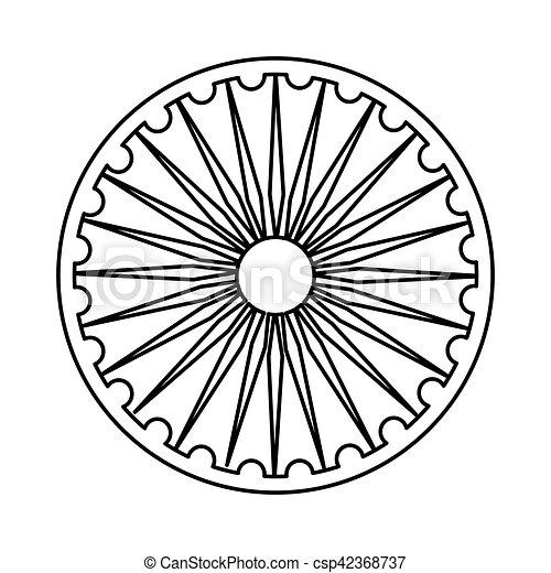 Ashoka chakra symbol icon vector illustration graphic design. 505683ce7fc2
